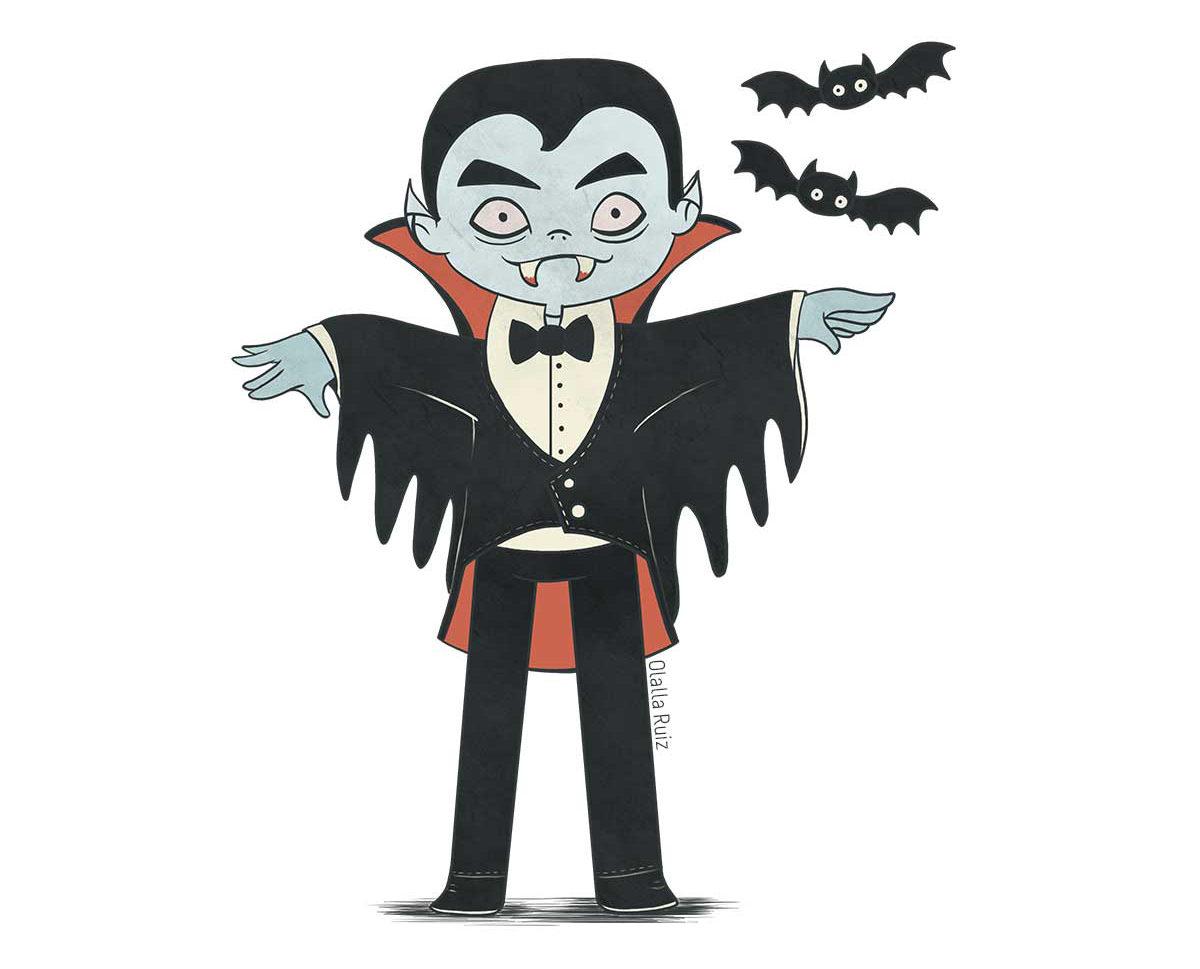 Vampiro con mangas de murciélago, capa roja, piel azul y colmillos de sangre. A su lado hay dos murciélagos y levanta las manos porque está a punto de volar.