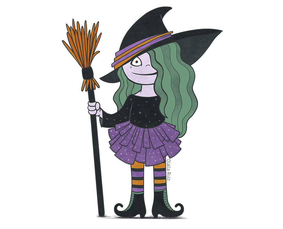 Bruja con pelo verde, leggings de rayas, falda morada, botas de bruja y escoba para volar.