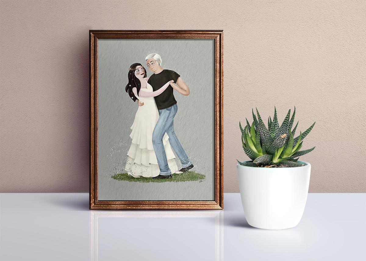 Ilustración de pareja bailando bajo la lluvia