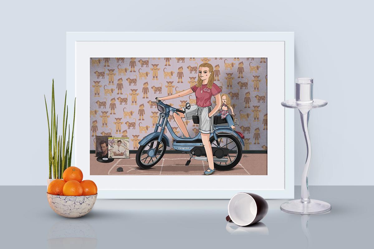 ilustración de chica en moto