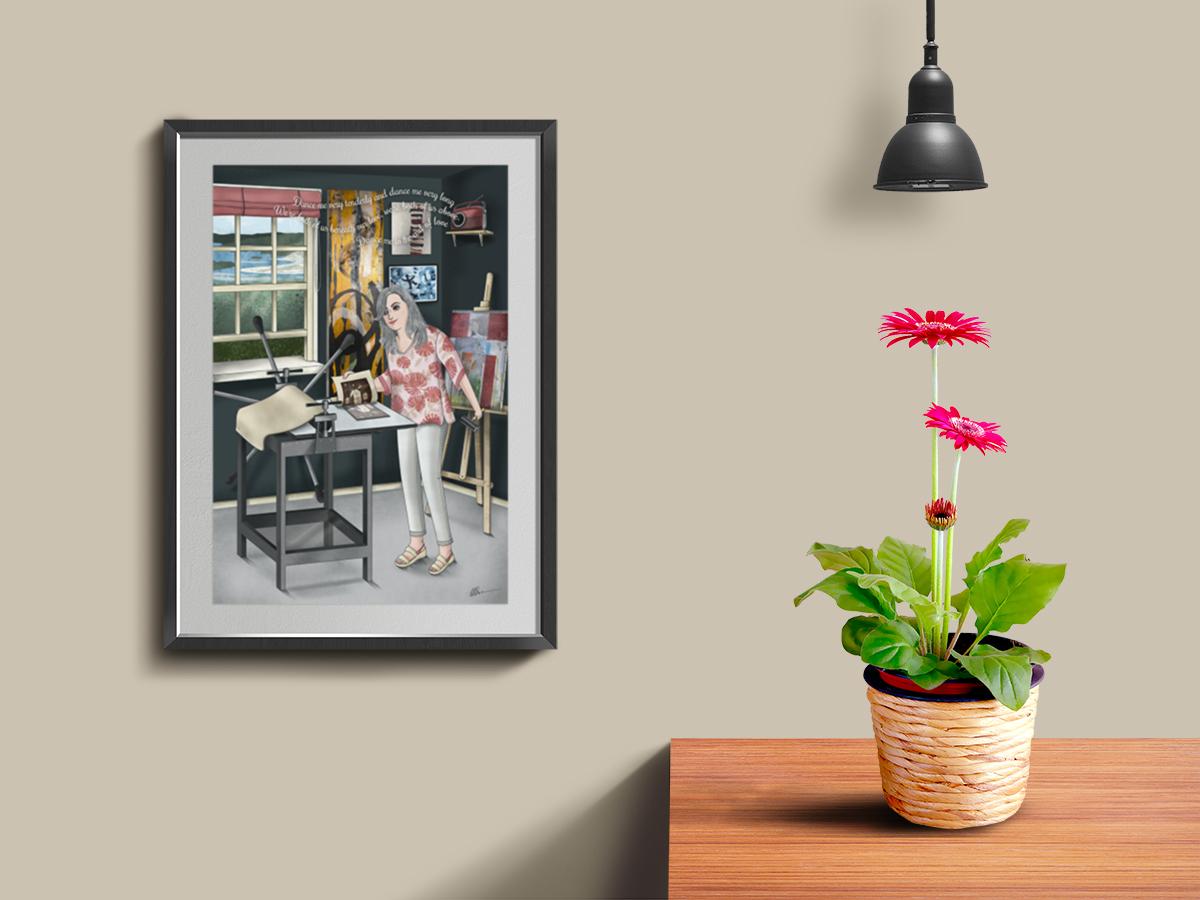 cuadro de artista en su taller de grabado con paisaje de Galicia tras la ventana