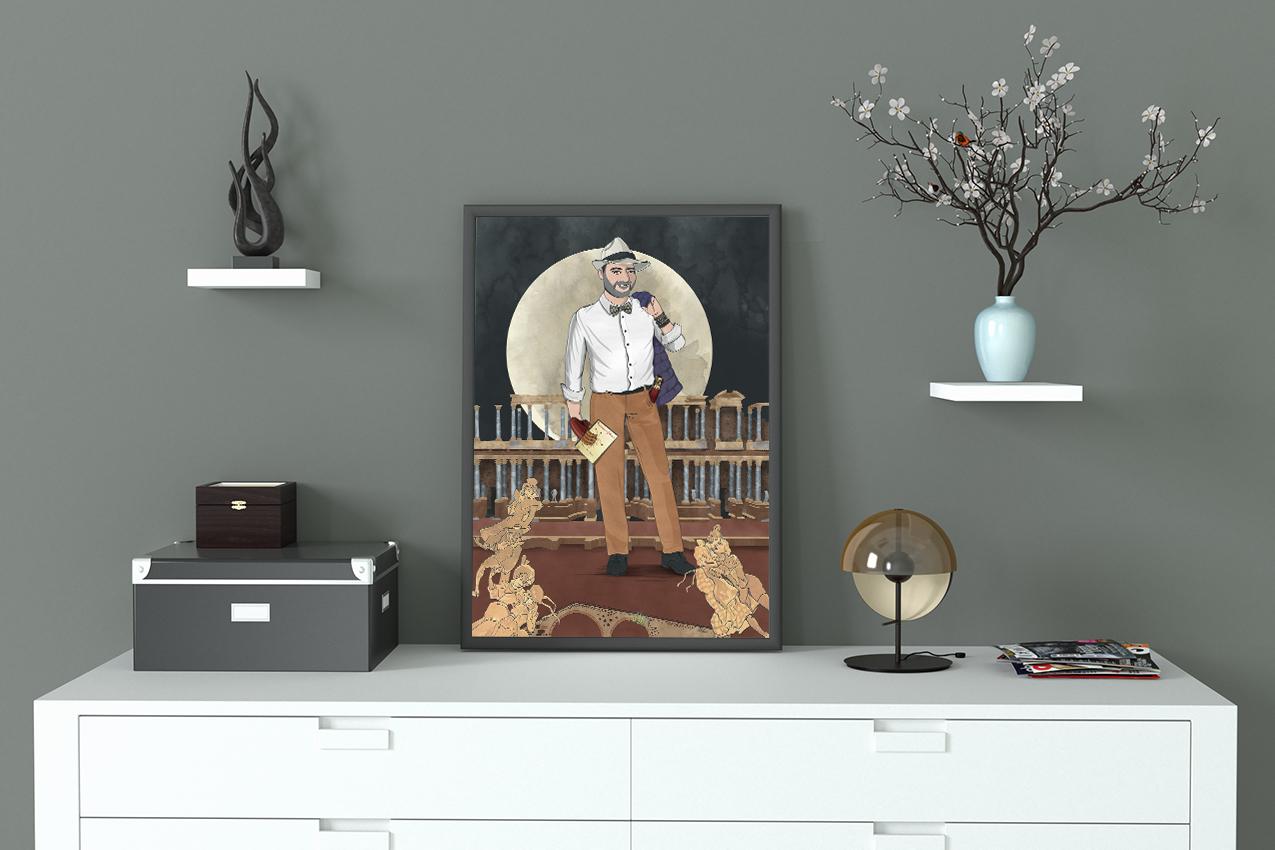 ilustración con hombre elegante con fondo de luna llena y teatro de Merida