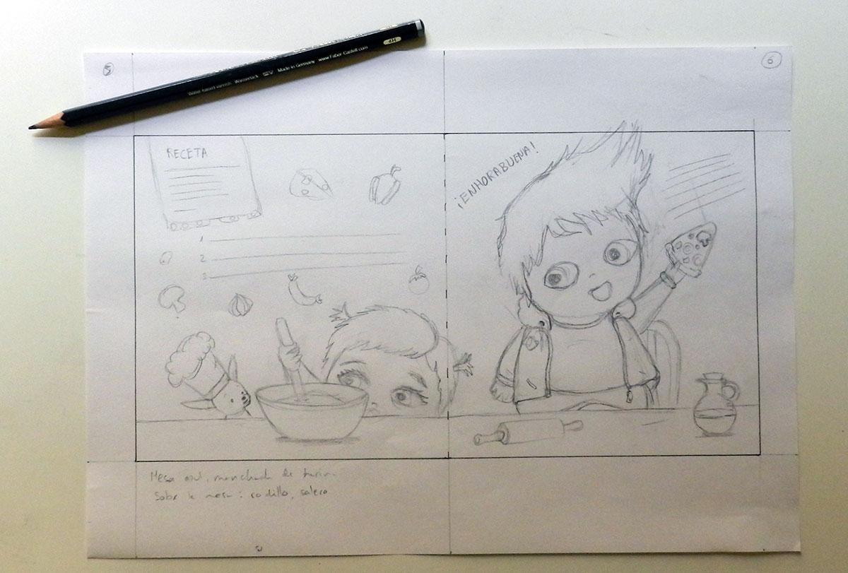 Boceto de ilustración a doble página de álbum ilustrado