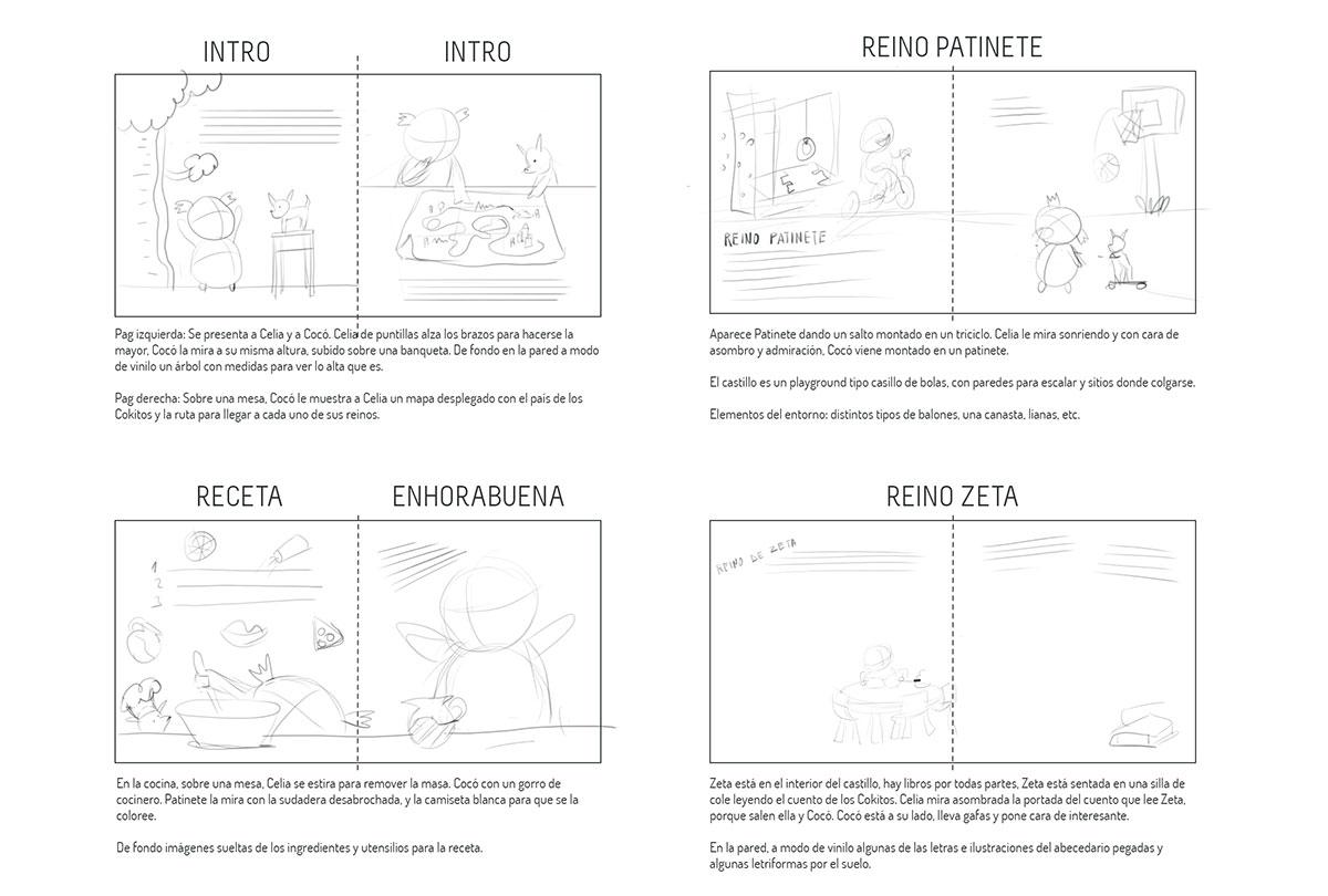 Storyboard, composición de las páginas del cuento