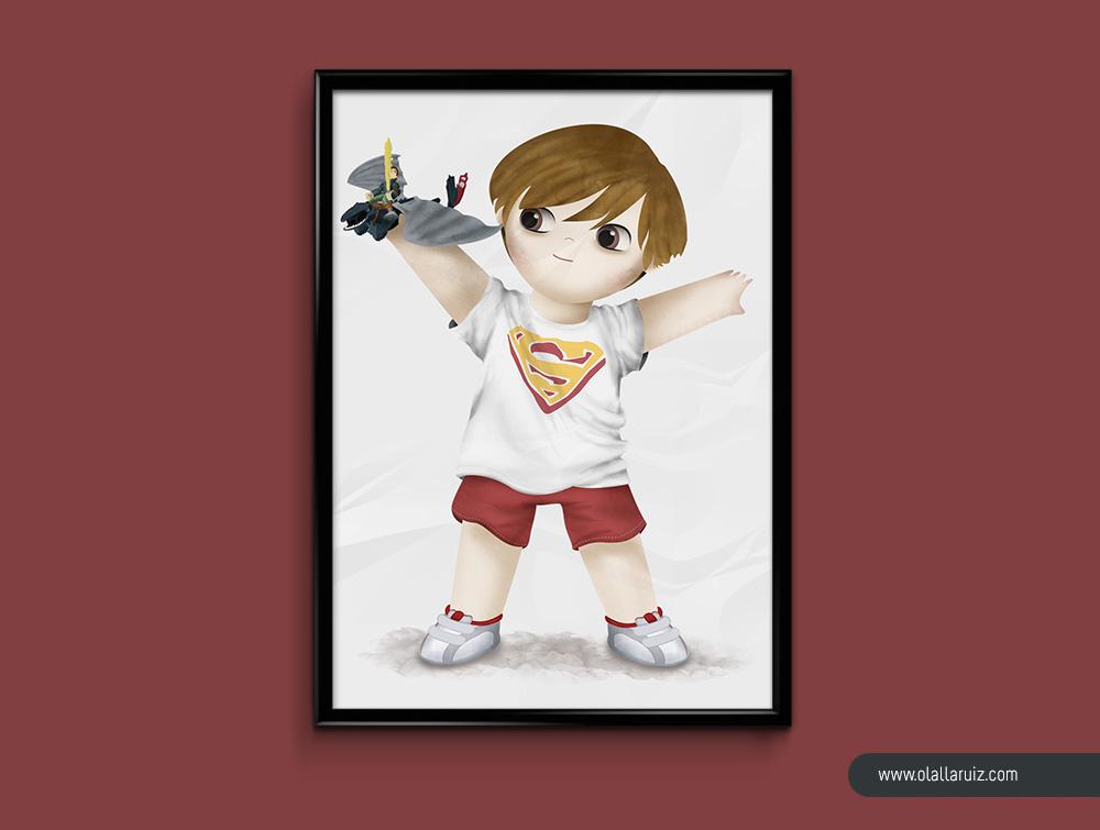 Cuadro de ilustración de un niño con juguete