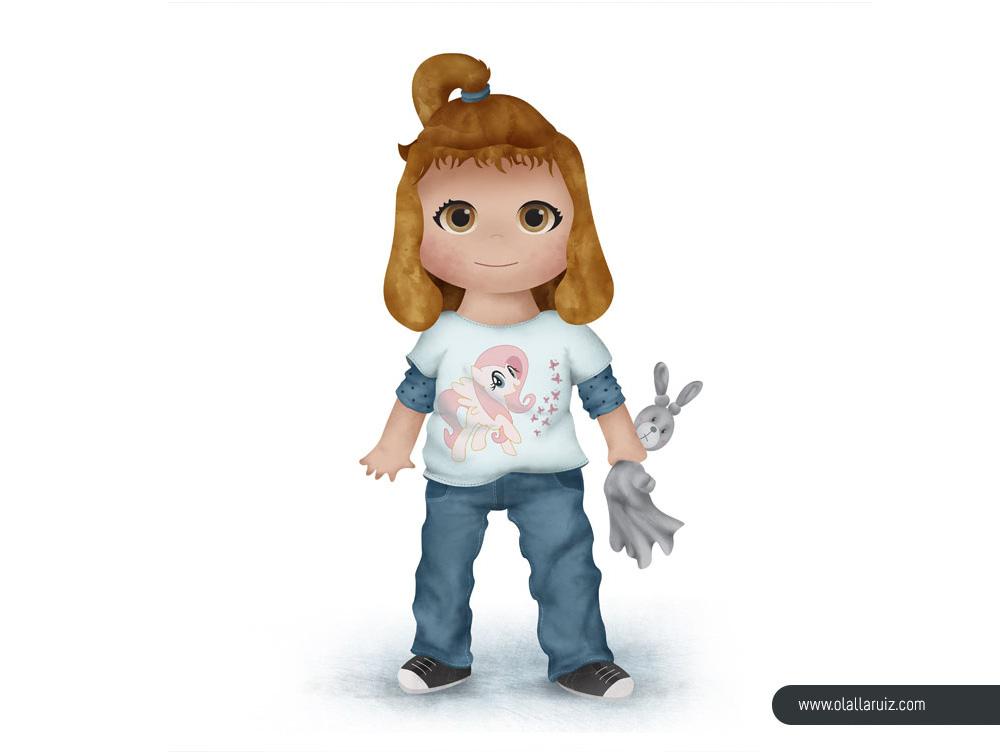 Ilustración de niña con camiseta de unicornio y muñeco conejito
