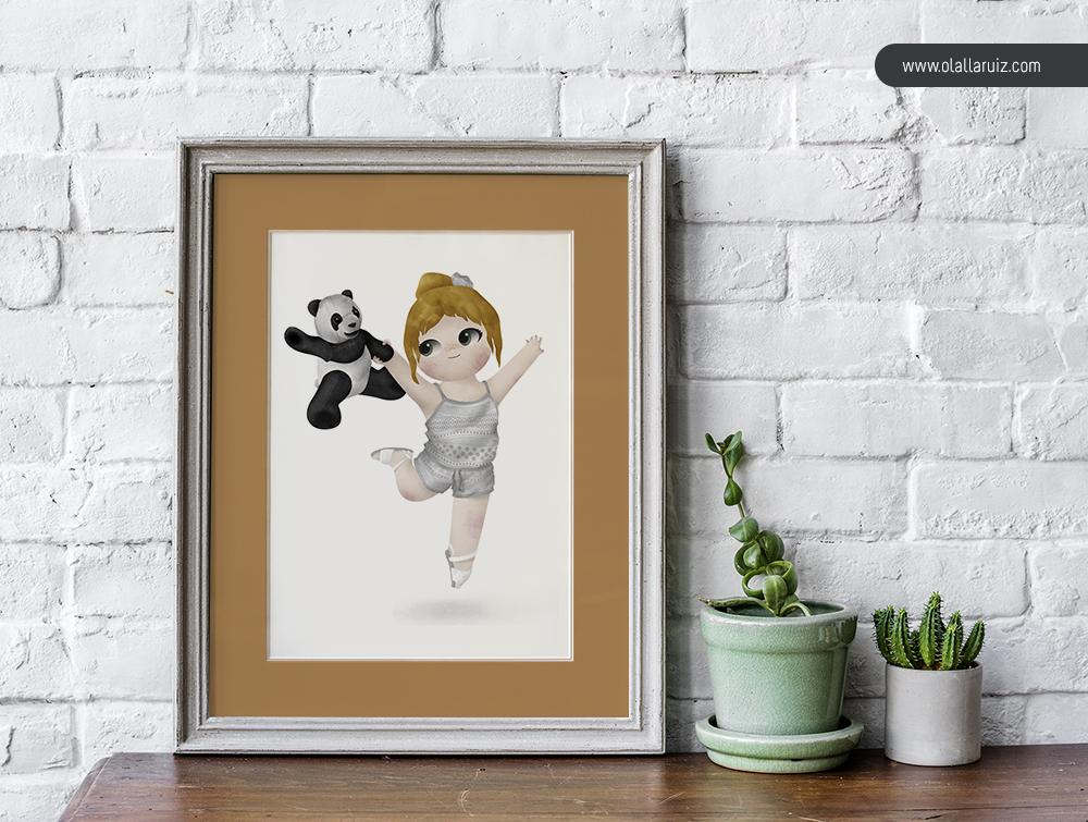 Cuadro de ilustración de una niña bailando con un oso panda