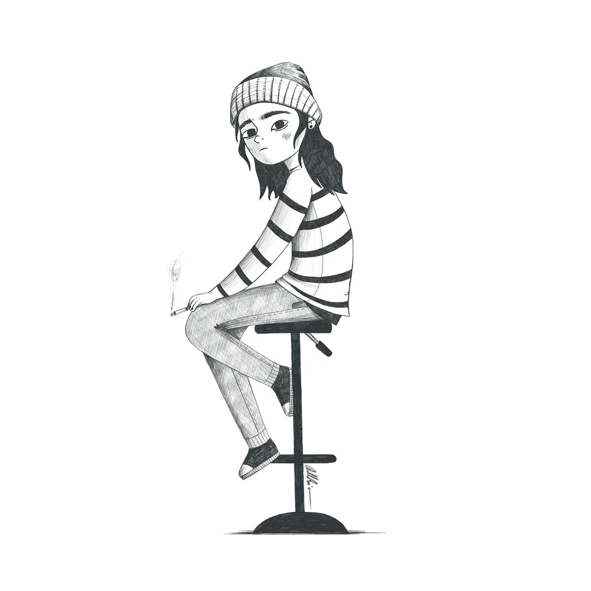 Chica sentada en banqueta alta fumando y mirando con cara borde