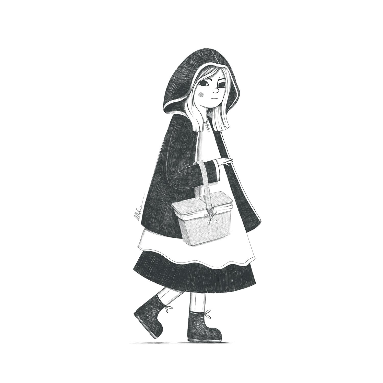 Dibujo en blanco y negro de Caperucita Roja caminando con cesta