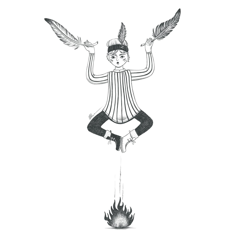 niño vestido de indio volando con plumas en las manos sobre una hoguera