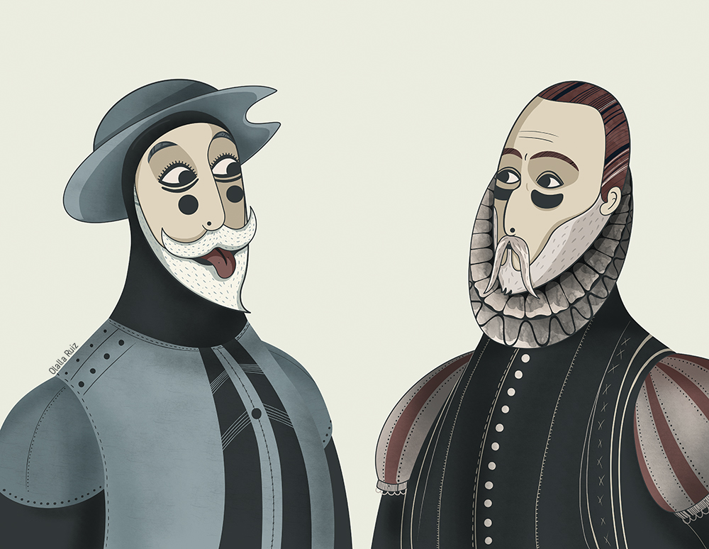 Ilustración de Don Quijote sacándole la lengua a Miguel de Cervantes