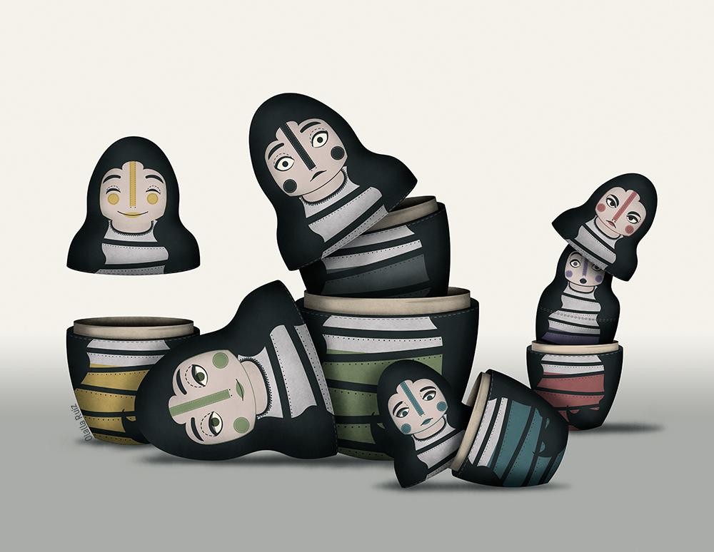 Muñecas rusas matrioskas cada una con una expresión en la cara