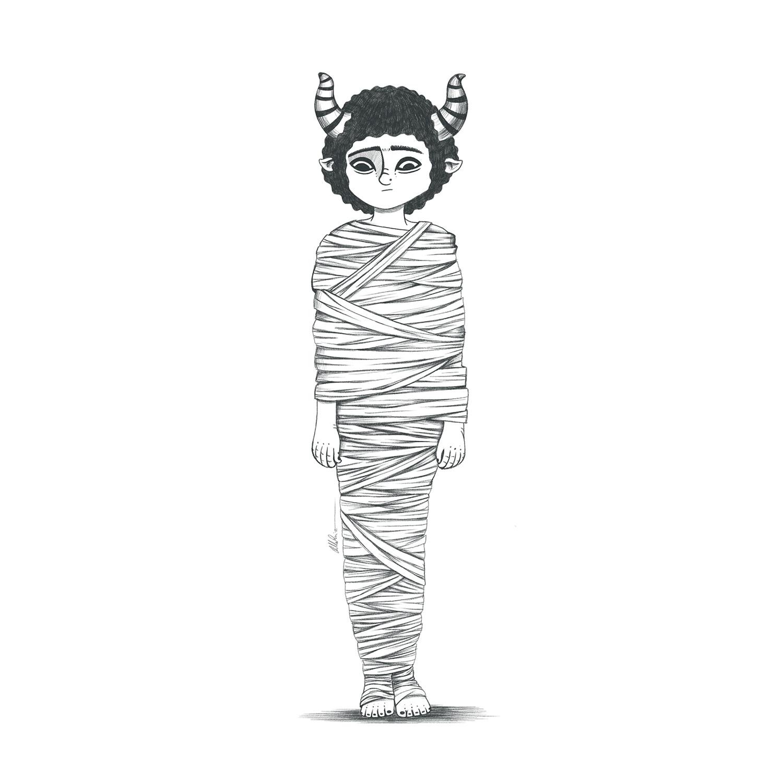 Dibujo a lapiz de chico diablo con cuernos de cabra y envuelto en vendas como una momia