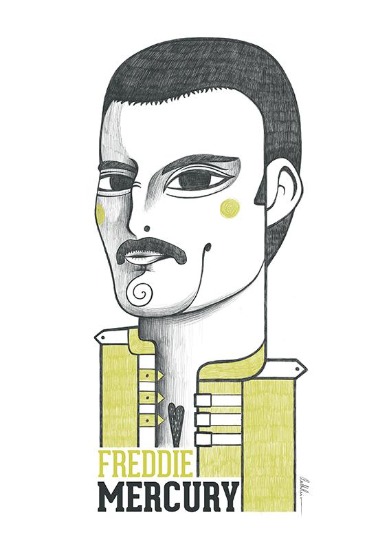 Ilustración de Freddie Mercury