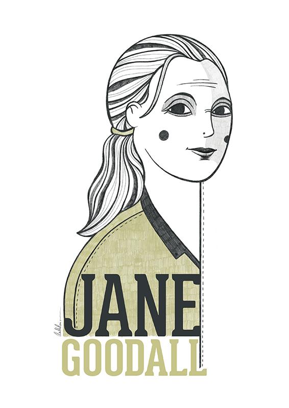 Retrato ilustrado de Jane Goodall