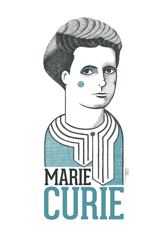 Ilustración de Marie Curie