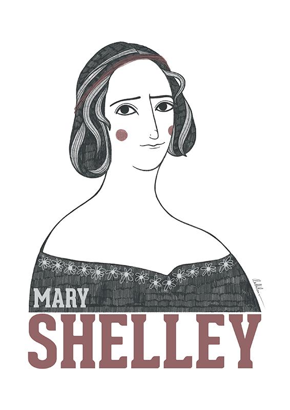 Retrato ilustrado de Mary Shelley