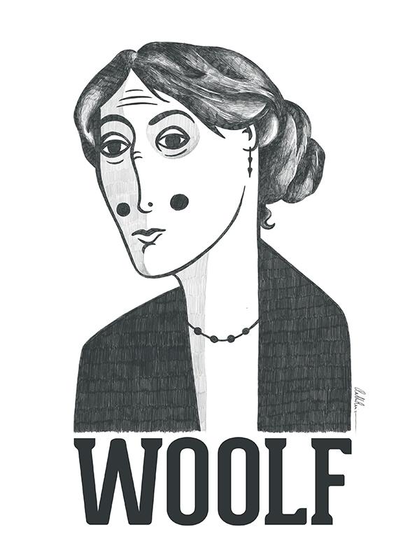 Retrato ilustrado de Virginia Woolf