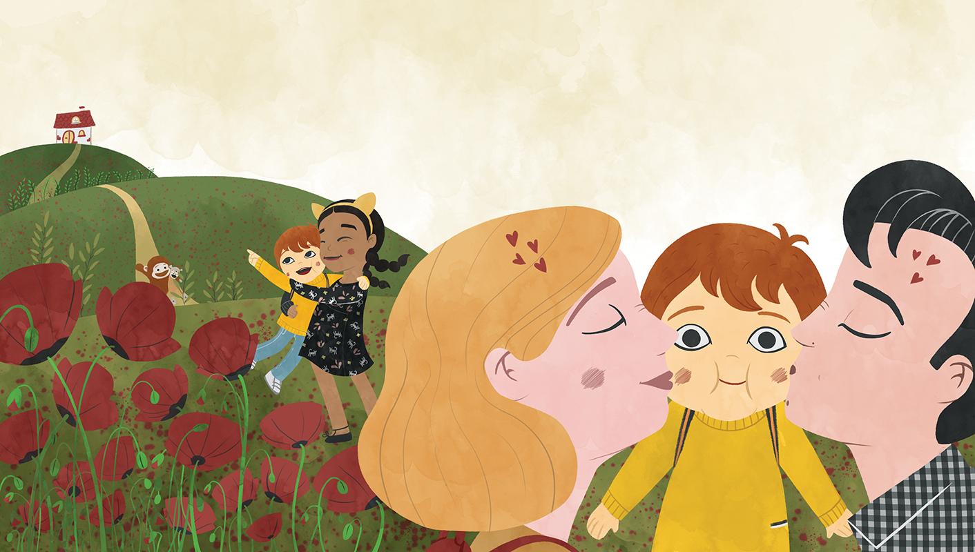 Ilustración de colina con amapolas y padres con hijos