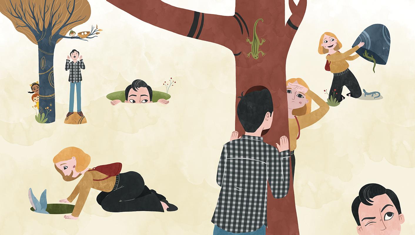 Ilustración de padres buscando a sus hijos