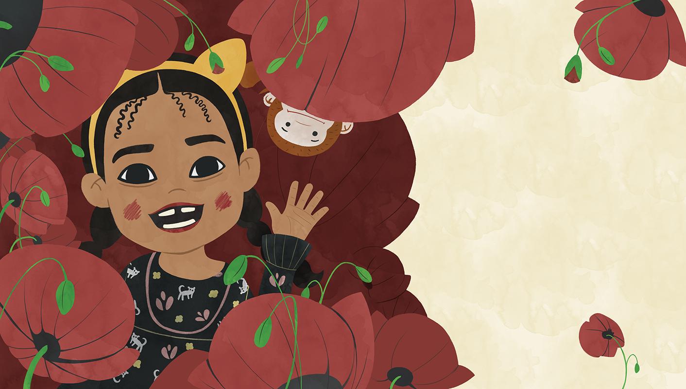 Ilustración de niña apareciendo entre las flores