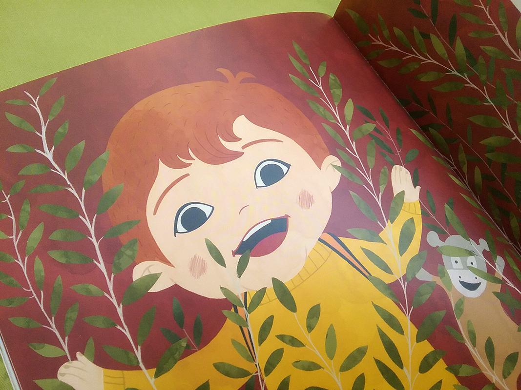 Ilustración de niño entre la hierba