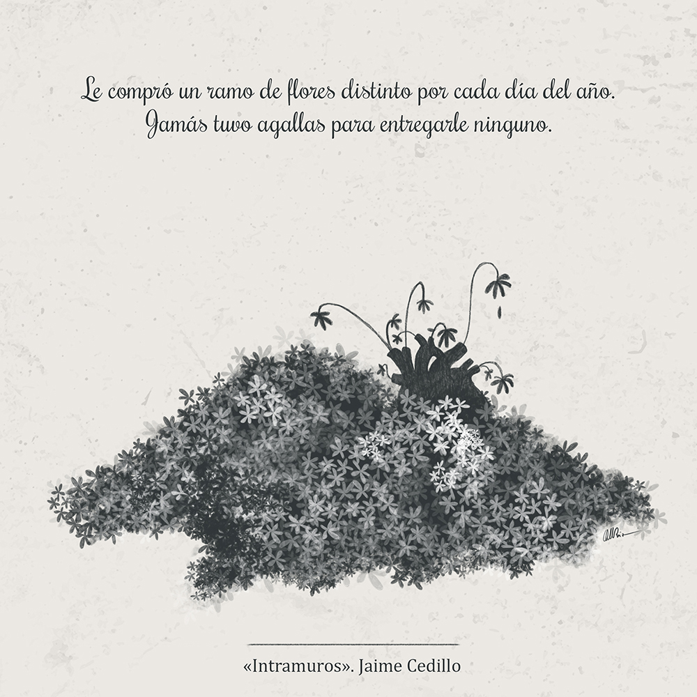 Corazón enterrado en una montaña de flores secas