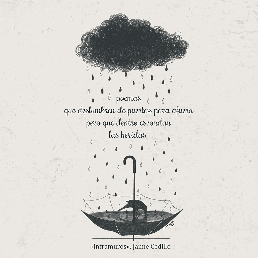 Paraguas recoge el agua que llueve de una nube y un mirlo la bebe