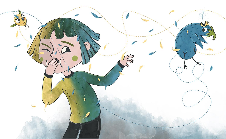 Ilustración de pajaros volando alrededor de niña