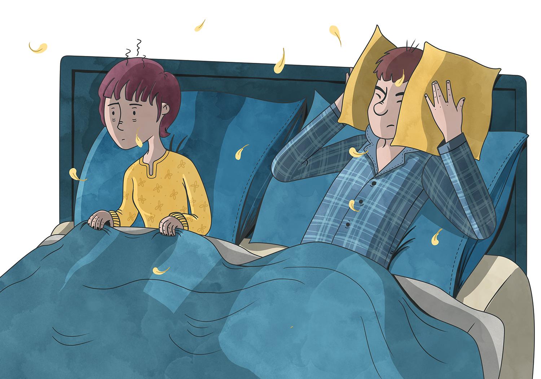 Ilustración de padres en la cama con insmonio