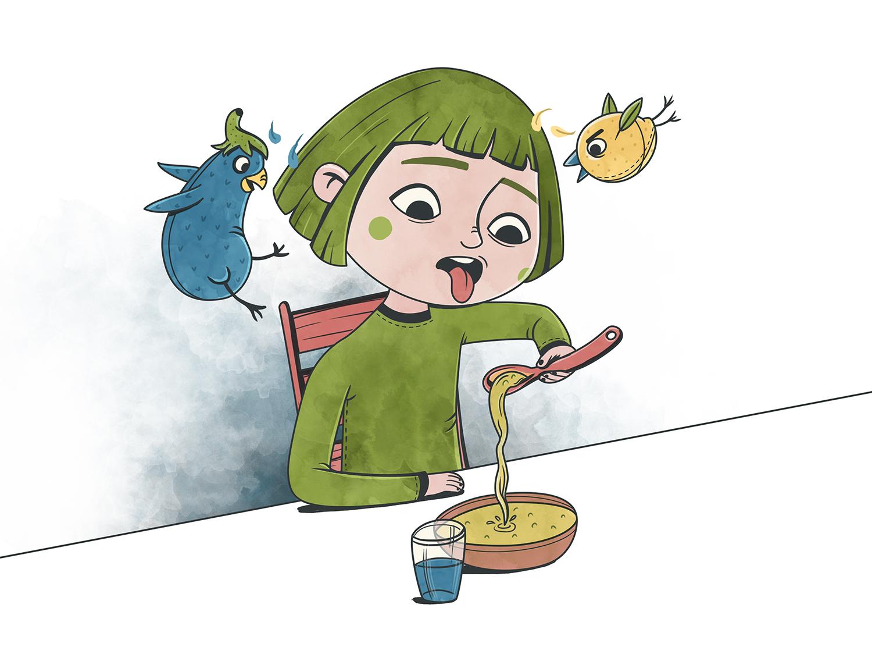 Ilustracion de niña comiendo sopa