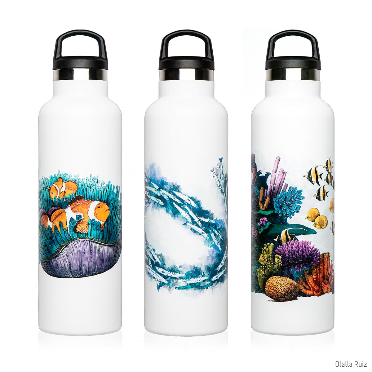 Botellas ilustradas con temas marinos