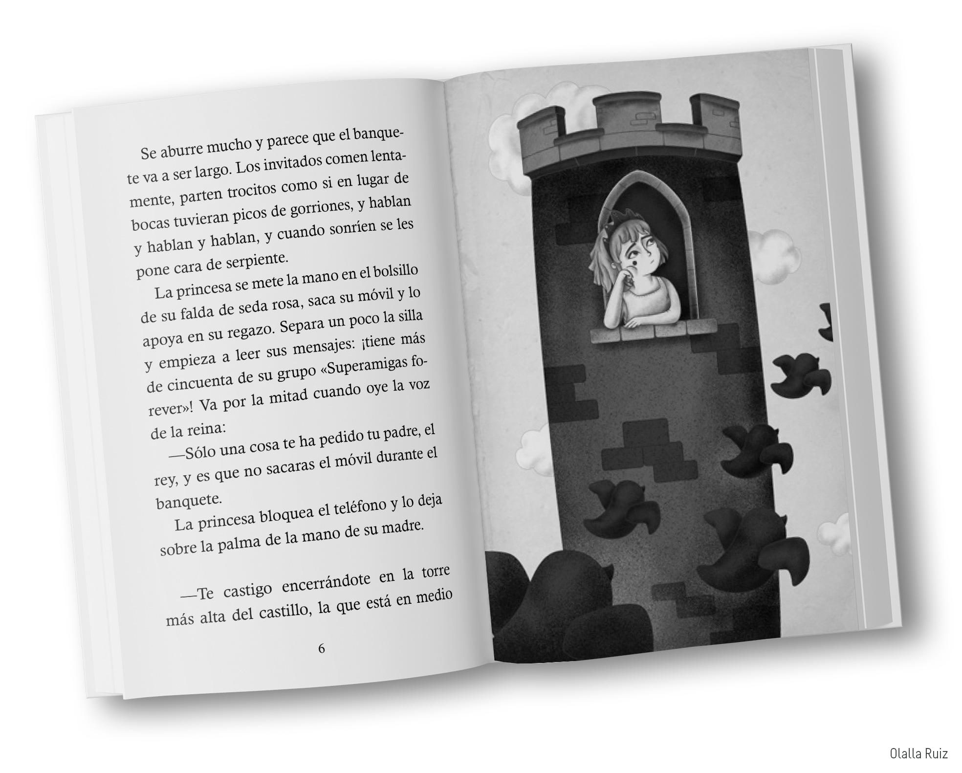 Libro abierto de cuento princesa
