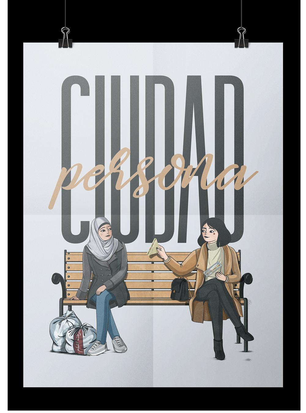 Cartel de ciudad persona con mujer refugiada