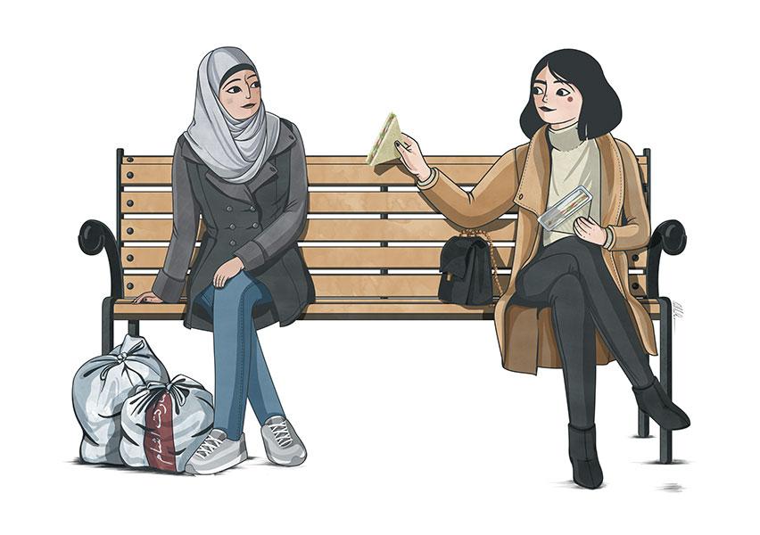 Ilustración de mujer de occidente ofreciendo un sandwich a una mujer refugiada