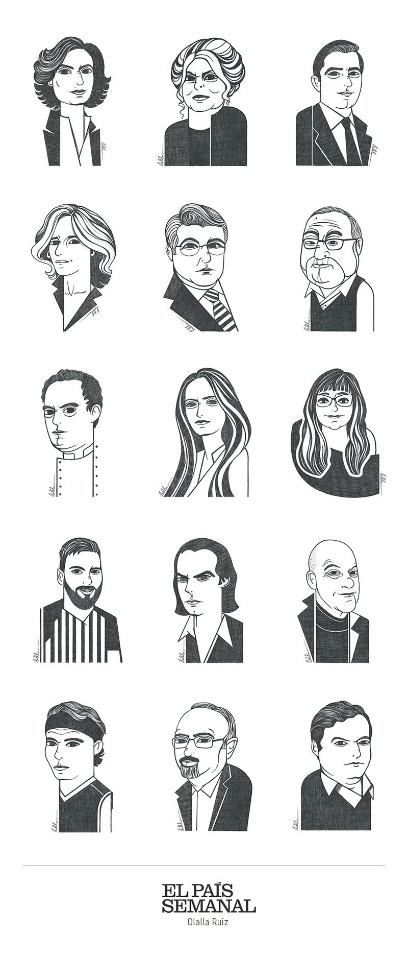 Retratos ilustrados para prensa