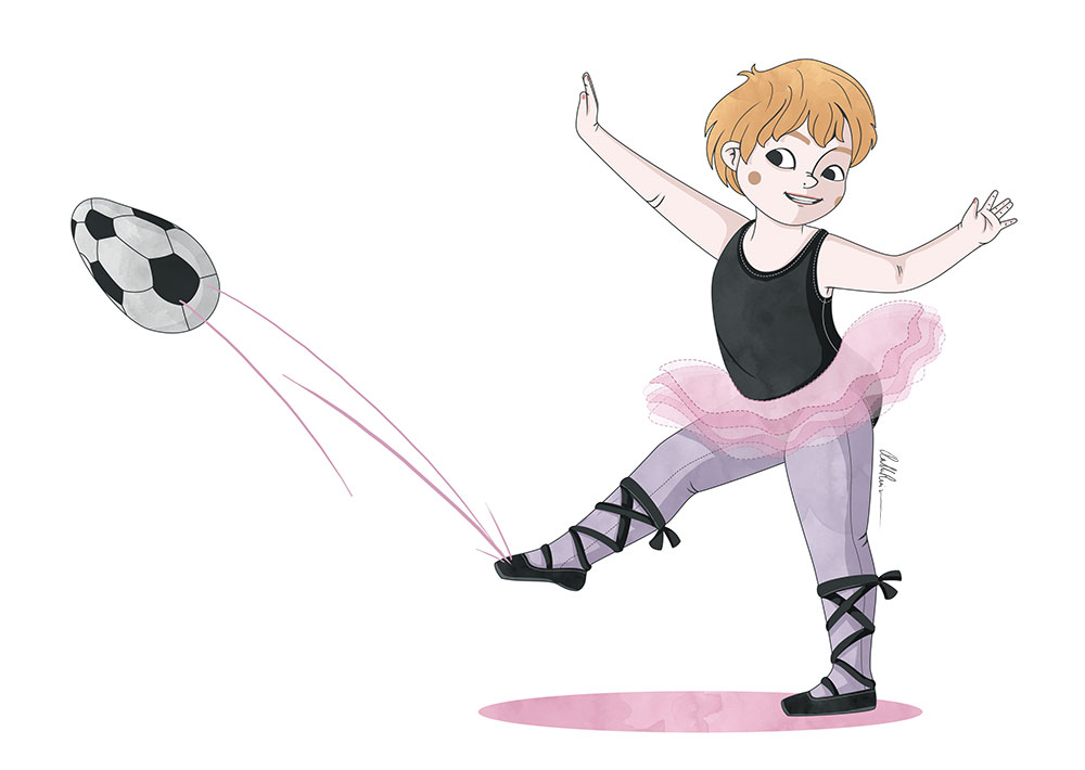 Niña trans con tutu dando patada a un balon