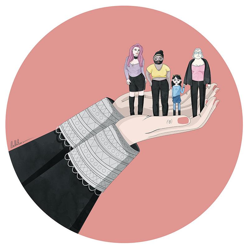 Manos de mujer juez sosteniendo a mujeres trans