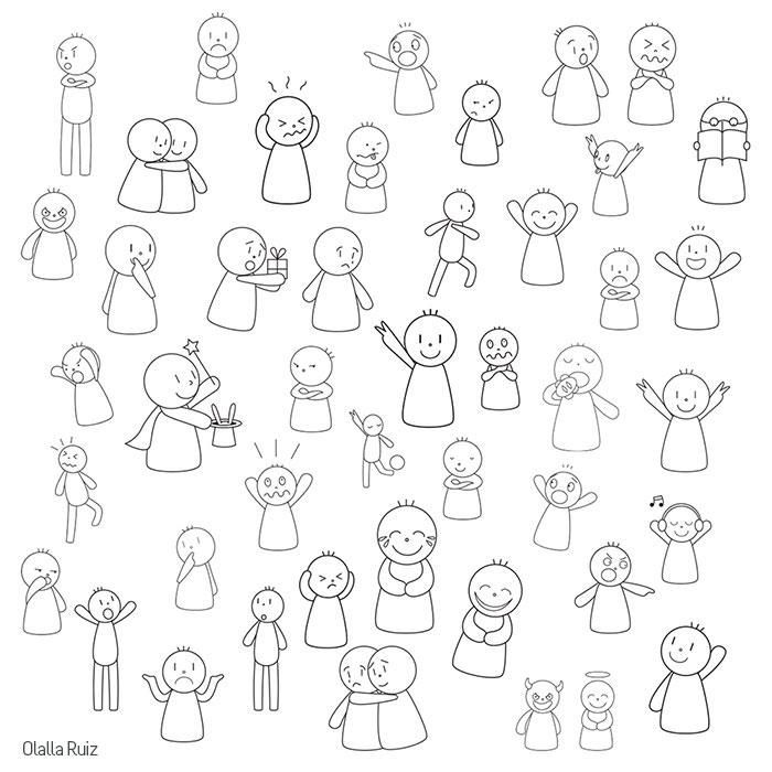 Dibujos de monigotes sencillos que expresan emociones y sentimientos: