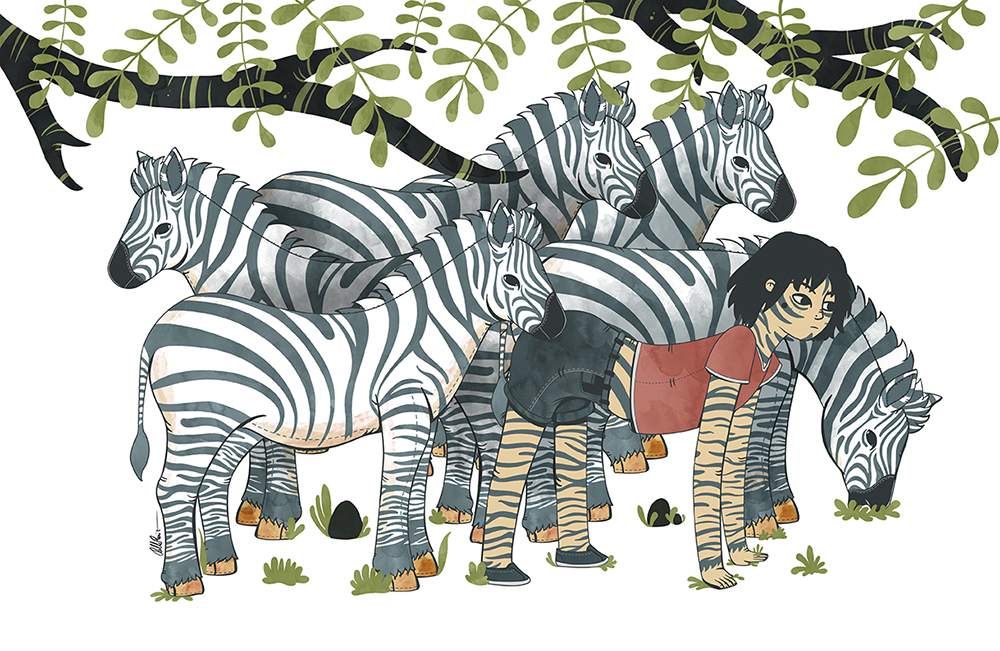 Jungle Teen with zebras