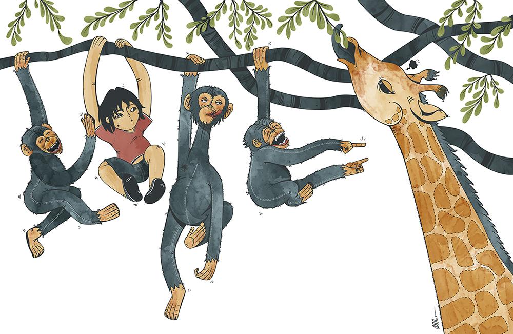 Jungle Teen with monkeys