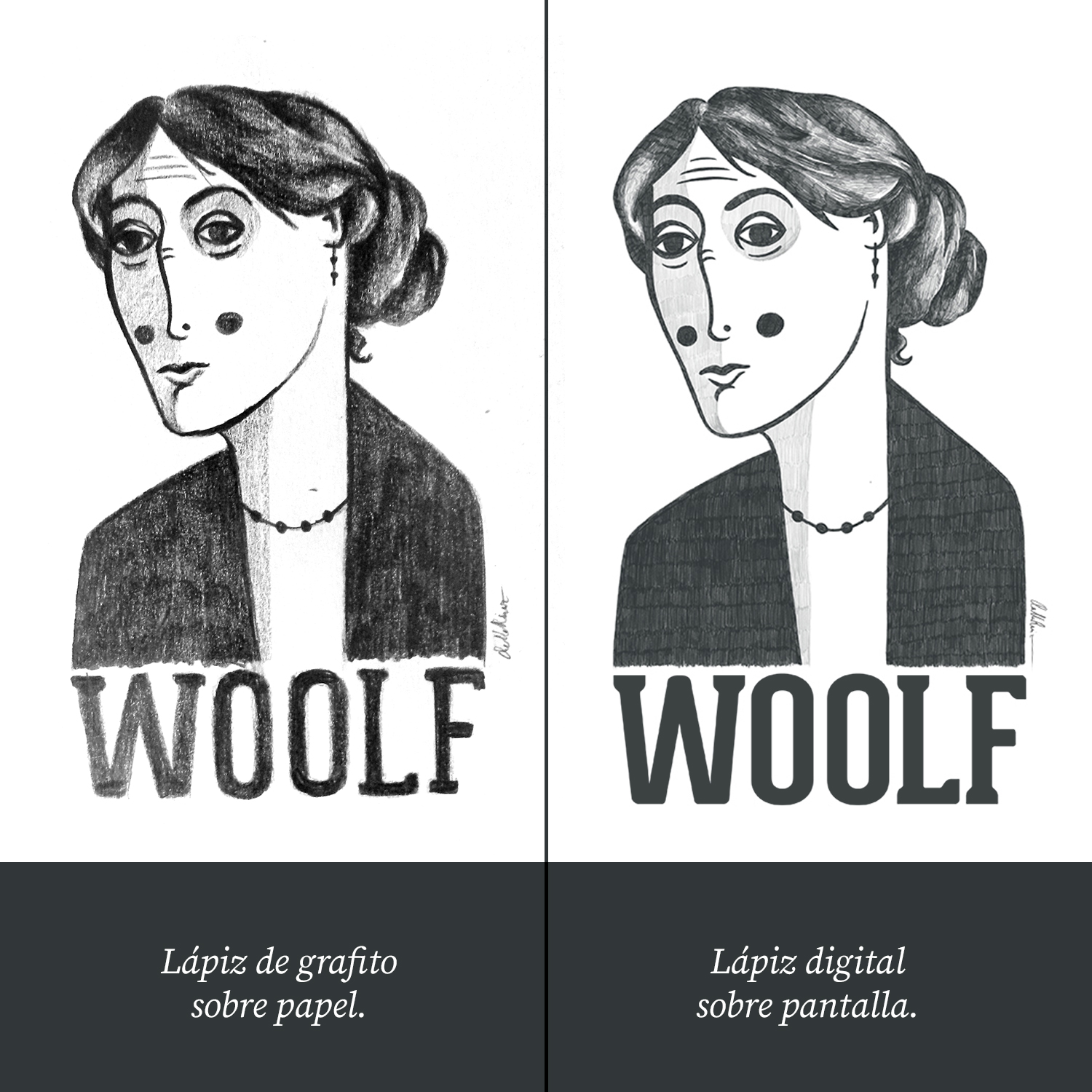 Dibujo de Virginia Woolf
